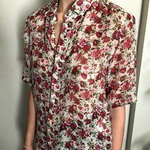 SAINT LAURENT Silk Sheer Floral Button Down